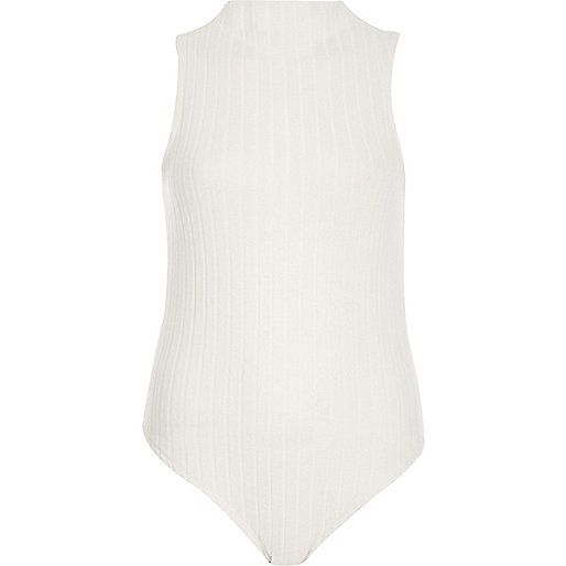 Cream soft ribbed turtleneck bodysuit