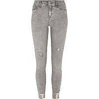 Grey acid wash ripped Molly jeggings