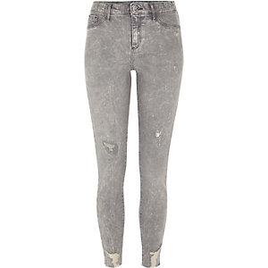 Molly - Grijze acid wash ripped jegging