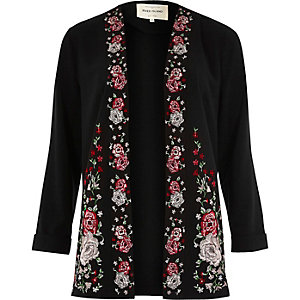Black floral embroidered duster jacket
