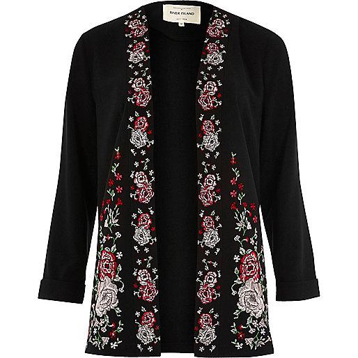 Zwarte geborduurde dusterjas met bloemenprint