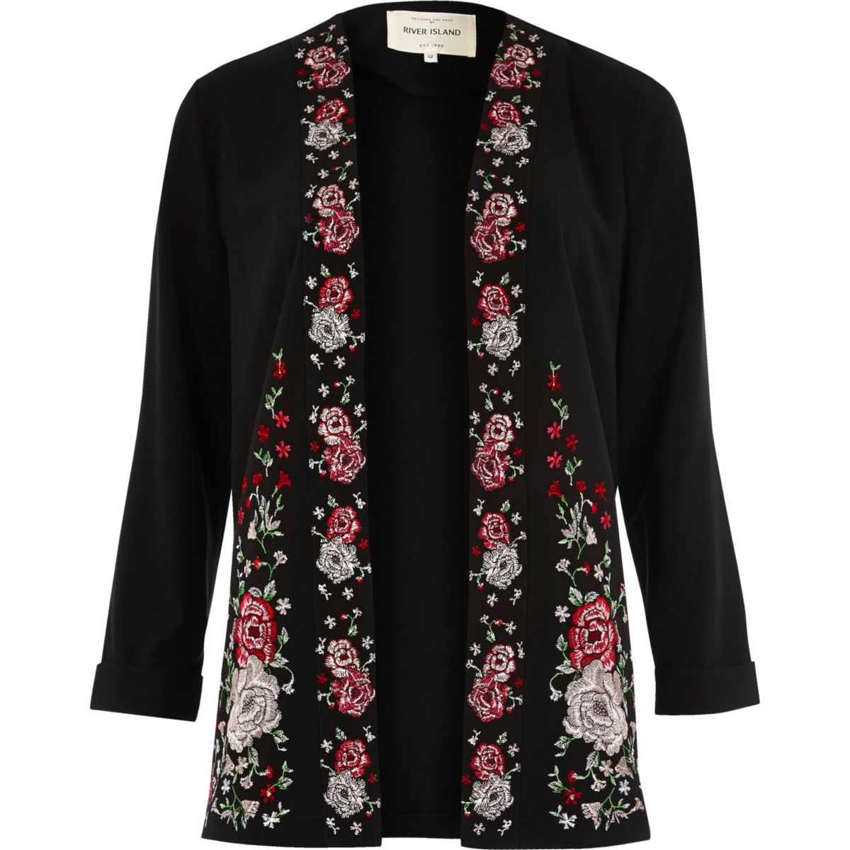 Black floral embroidered duster coat