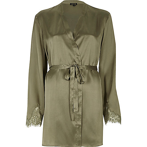 Khaki green lace sleeve silky robe