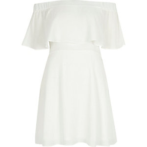 Cream deep frill bardot dress