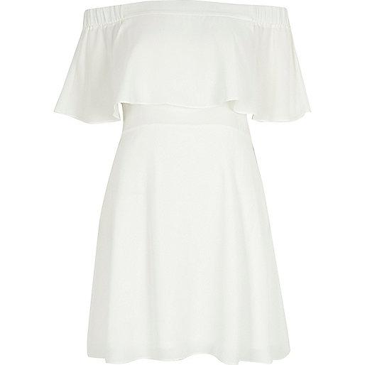 Cream deep frill bardot dress