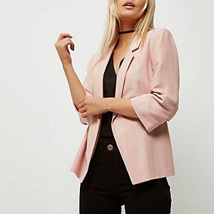 Petite – Pinker Blazer mit gerafften Ärmeln