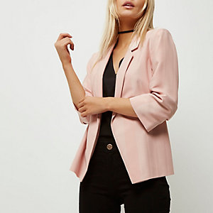 Petite pink ruched sleeve stripe blazer