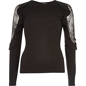 Black lace frill sleeve top