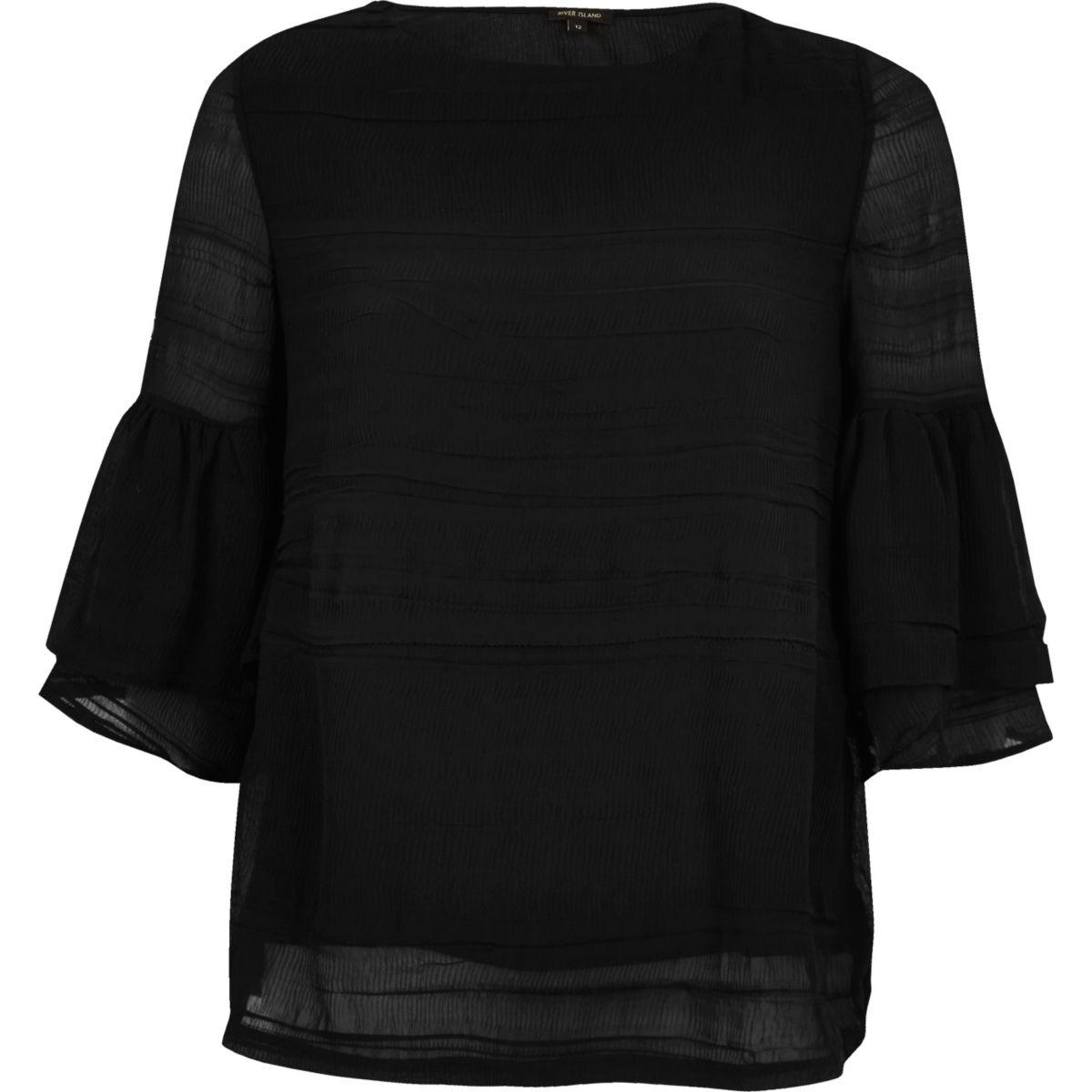 Black layered frill sleeve top