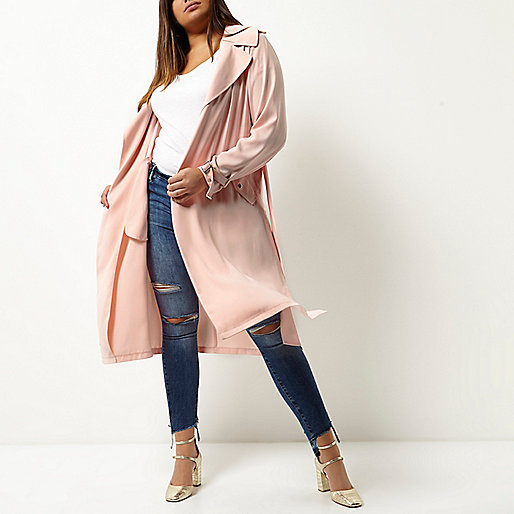 Plus pink tie waist duster trench coat