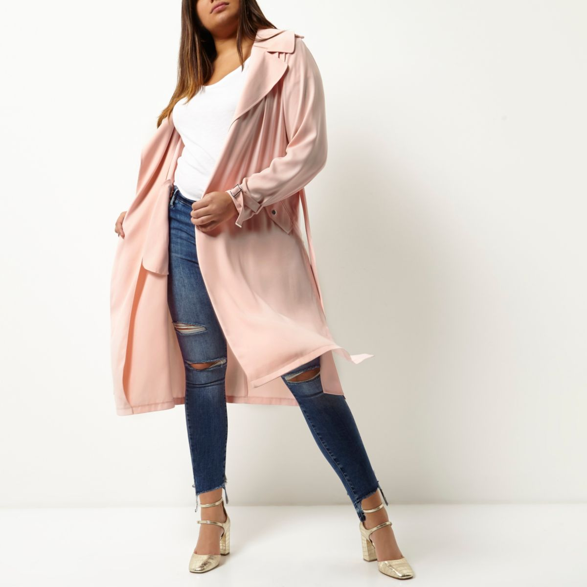 Plus pink tie waist duster trench coat