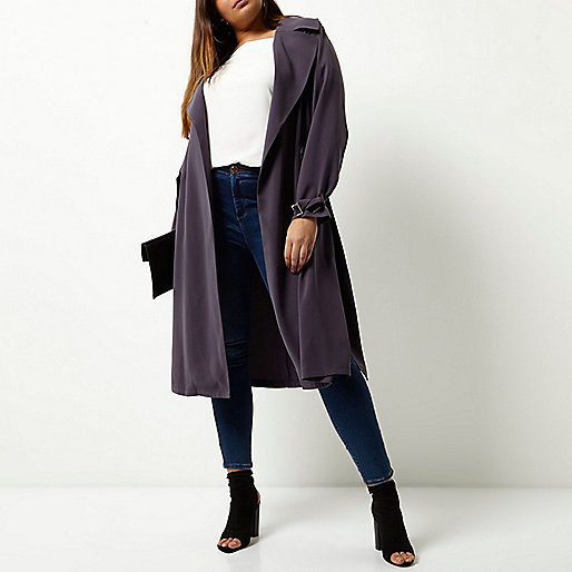 Plus grey belted duster trench coat