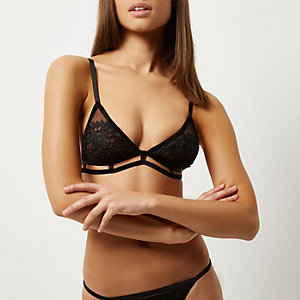 Black mesh crochet bra
