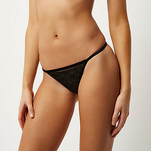 Black mesh crochet knickers