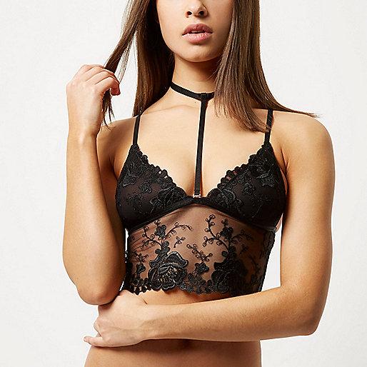 Black choker detail longline bra