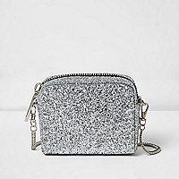 Silver glitter mini cross body bag