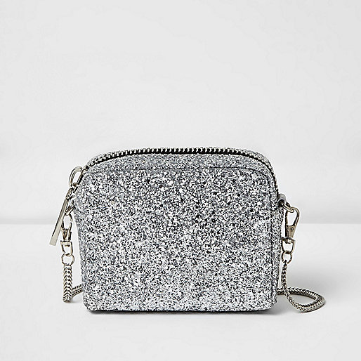 Silver glitter mini cross body bag