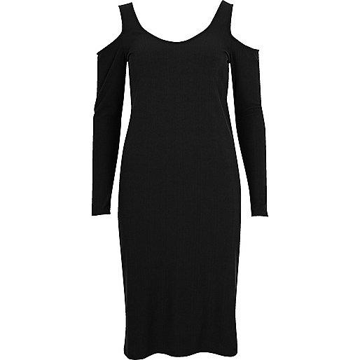 Black cold shoulder scoop neck dress