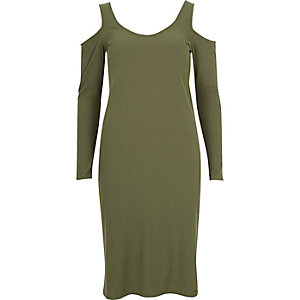 Khaki green cold shoulder scoop neck dress