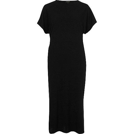 Black batwing sleeve midi dress