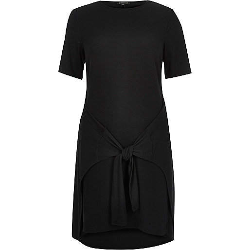 Black tied front T-shirt dress