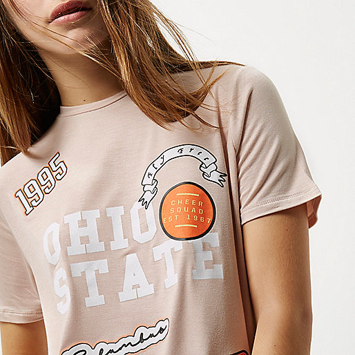 Petite pink badge print T-shirt