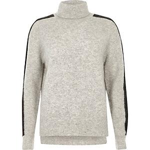 Grey stripe sleeve turtleneck jumper