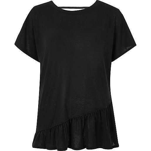 Black peplum smock top