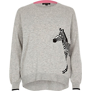 Grey zebra print knit sweater