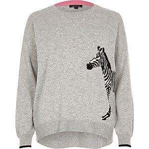 Grey zebra print knit jumper
