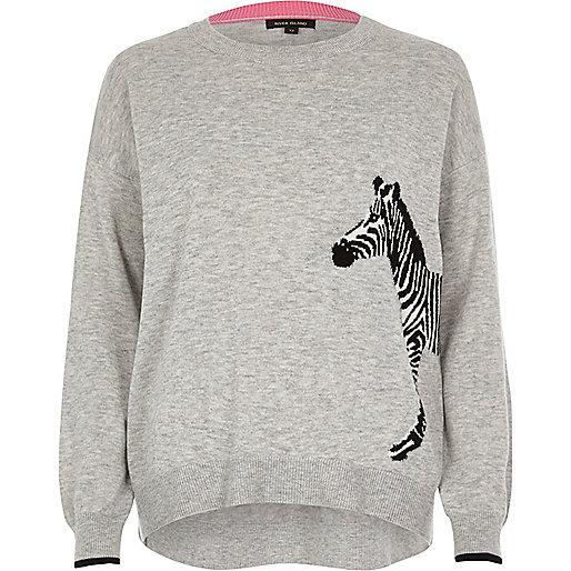 Grey zebra print knit sweater