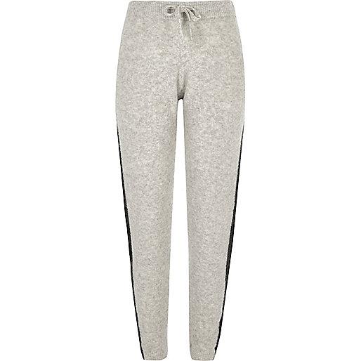 Grey knit stripe slim fit joggers