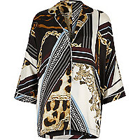 Black scarf print oversized pyjama shirt