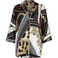 Black scarf print oversized pajama shirt