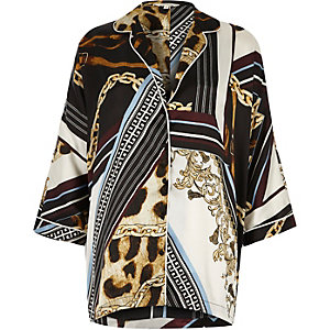 Zwart oversized pyjamashirt met sjaalprint