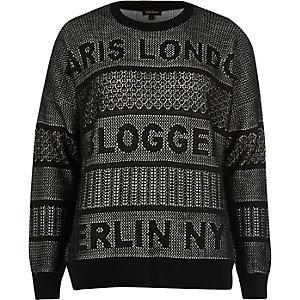 Black white knit blogger jumper