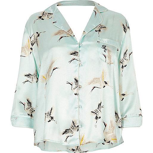 Blue heron print pyjama shirt
