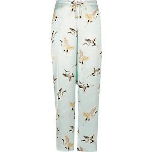 Blue heron print pyjama trousers