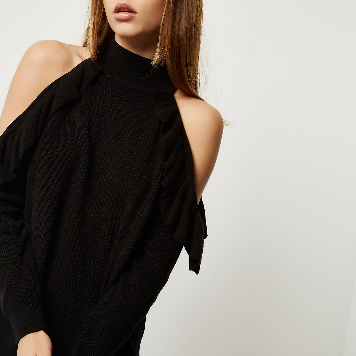 8c94f93af81 Black knit cold shoulder frill sweater dress - Dresses - Sale - women