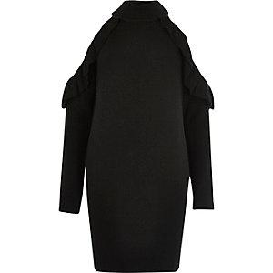 Black knit cold shoulder frill sweater dress