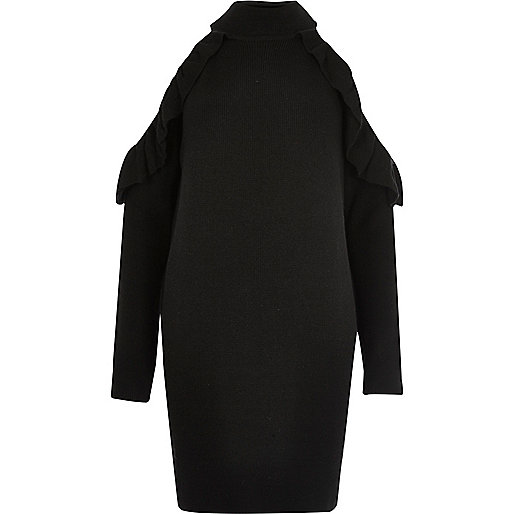 Black knit cold shoulder frill jumper dress