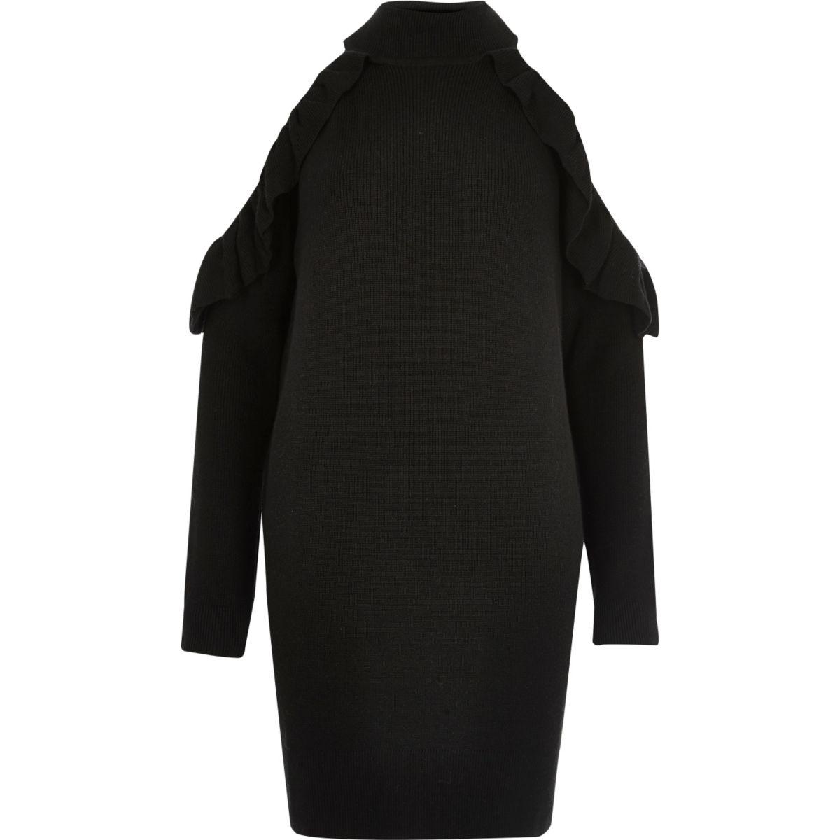 Zwarte gebreide schouderloze trui-jurk met ruches