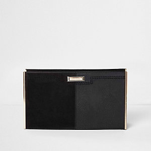 Black textured bar clutch bag