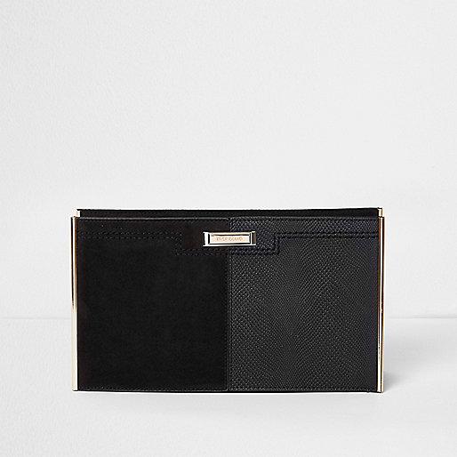 Black textured bar clutch bag