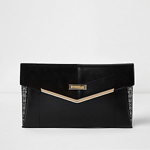 Black panel envelope clutch bag
