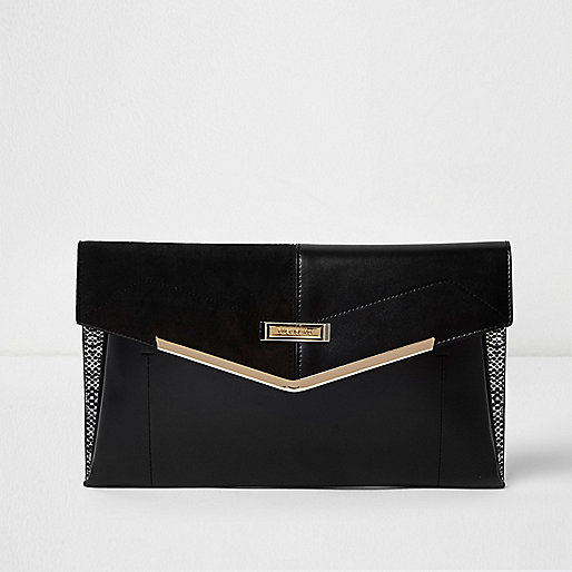 Pochette enveloppe noire avec empiècement