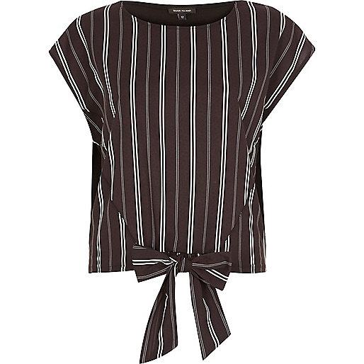 Black stripe tie front top