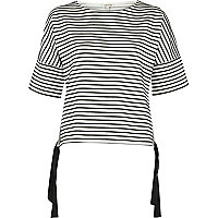 White mixed stripe tie side top