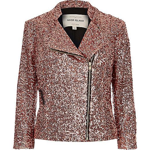 Pink sequin biker jacket
