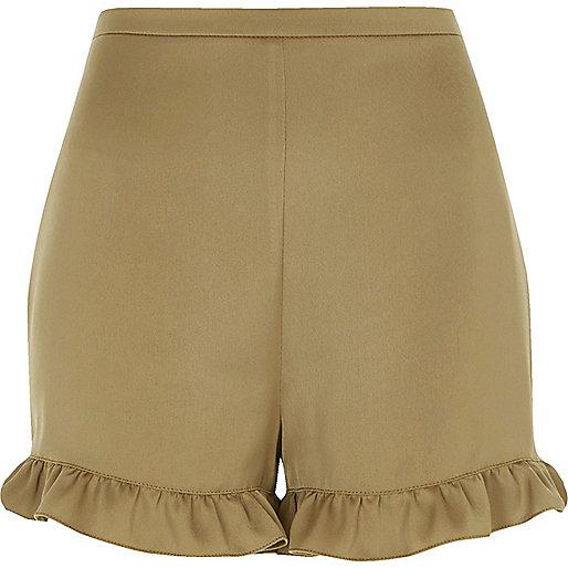 Shorts mit Rüschensaum in Khaki